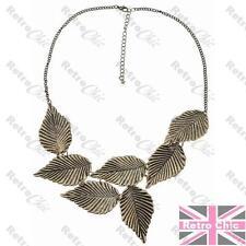 Hoja Collar Collar Vintage Latón hojas Gargantilla Babero Retro Cadena Grande Boho