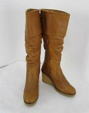 BRONX Womans Fashion Wedge Knee High Brown Leather Tall Boots US Sz 10