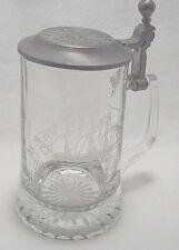 Vtg Old Spice Beer Stein Mug Glass Lid Grand Turk Salem Ship 1786 16oz W Germany