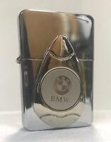 BMW 3D Emblem Flip Top Chrome Oil Lighter Wind Resistant Flame