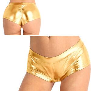 Women's Wet Look Bodycon Shorts PU Leather High Waist Hot Pants Dance Clubwear