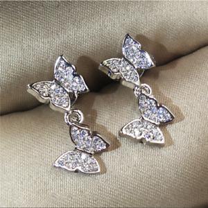 925 Silver Butterfly White Sapphire Stud Dangle Earrings    338