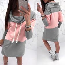 Womens Winter Hooded Hoodies Sweatshirt Casual Long Sleeve Sport Lady Mini Dress Grey L
