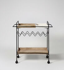 Swoon Hansel Drinks Trolley, Natural Mango Wood & Black Metal NEW BOXED