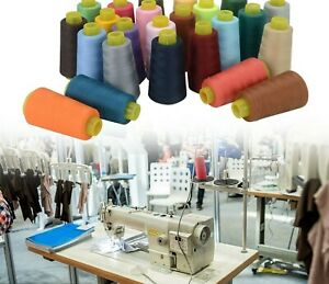 Lot 4 Big Spools 2500 Yards Each Quality Sewing Thread Polyester Machine WH/BK