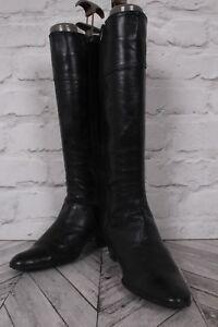 ELISA Knee High Riding Length Boots BLACK LEATHER STITCHED UK 4 EU 37
