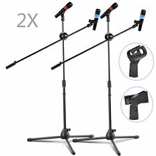 2 Pack Dual Microphone Stand Boom Arm Holder & Mic Clip Stage Studio Tripod