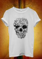Skull Flower Retro Floral Vintage Men Women Unisex T Shirt Tank Top Vest 315