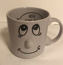 "Happy Smiley Face 3D Nose ""ich Liebe Dich"" German I Love You,  Mug Coffee Cup"