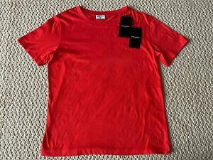 NWT Saint Laurent SL Logo Embroidered Rouge Red Short Sleeve Tee Shirt Sz L $350