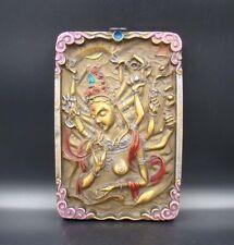 Collectible Handmade Carving & Painting Wood Buddha Mrual Thangka Deco Art 031