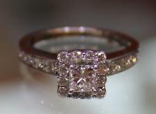 14k White Gold Princess Halo Diamond Ring Engagement Size 6.25 1.38ctw