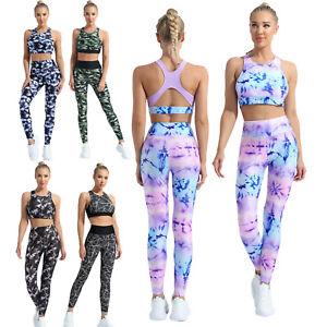 Women's Gym Yoga Sport Suit U Neck Sleeveless Sport Bra Top High Waist Pants Set