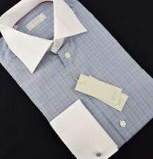 ETON Mens Contemporary Fit Blue PLAID French Cuff Dress Shirt Size 40 15.75 NWT