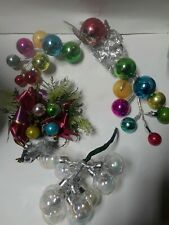 3 Vintage Christmas Glass Ball Sprays Table Decorations Made in Japan