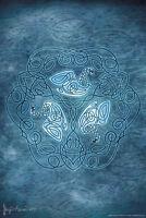 Celtic Swans by Brigid Ashwood Art Print Poster 12x18