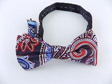 "COUNTESS MARA $65 Blue Paisley MEN'S WIDTH 2.25"" 100% Silk Bow Tie SALE E06"