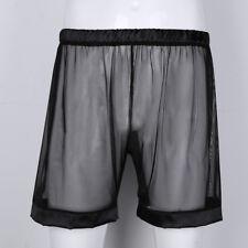Men Sissy Sheer Mesh See-through Boxer Shorts Underwear Trunk Loose Shorts Pants