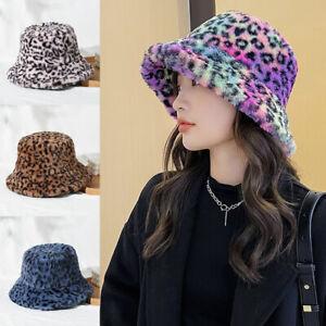 Women Winter Fluffy Plush Bucket Hat Leopard Warm Faux Fur Fisherman Cap Decor