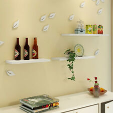 WHITE SET OF 3 WOOD EFFECT FLOATING SHELVES STYLE STORAGE DISPLAY WALL  UK