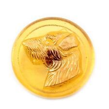 (1) 29mm Czech Vintage 14k gold gilt terrier dog topaz glass button signed BA
