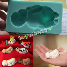 3D Baby Sleeping Silicone Fondant Mould Cake Decor Soap Icing Mold