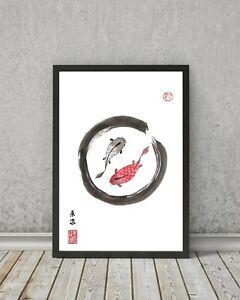 JAPANESE style KOI CARP print - Decor wall art kanji gift fish painting sumi-e