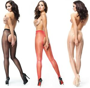 CROTCHLESS 20 DENIER SHEER GLOSS SEAMED TIGHTS LARGE OPEN CROTCH GUSSET MISS O