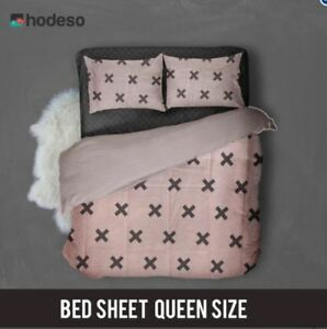 Hodeso Bedsheet Pink X Design Queen Size With FREE Two Pillow Cases (Pink)