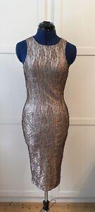Bronze Midi Bodycon Dress with black netting, Size 6-8