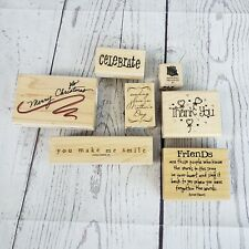 Lotof 7 Wood Stamps Phrases and Word Friend Christmas Stampin Up