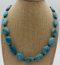 13x18mm Natural Blue Crazy Agate Onyx Oval Beads Necklace 18''
