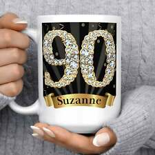 90th Birthday Gift Mug Microwave Dishwasher Safe Ceramic Black And Gold Diamond