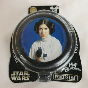 Disney Parks Star Wars Princess Leia Three Phrases Hot Buttons, NEW