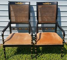 Beautiful Pair of Baker Fine Furniture Regency Style Armchairs Cane Back Dining