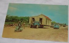 Vintage Guadeloupe French Antilles Postcard Villagers Moving House Little Truck