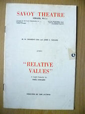 Savoy Theatre Programme- RELATIVE VALUES by Noel Coward