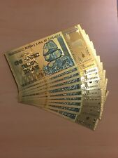 MAKE OFFER~10 Pcs Zimbabwe 100Trillion Dol. ($)Gold Foil Notes ~Price DROP