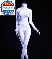 "1/6 Female Turtleneck Stretch Slim Top Pants Set WHITE For 12"" PHICEN Body ❶USA❶"