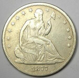1877-CC Seated Liberty Half Dollar 50C Carson City Coin - VF Details!