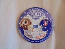 Vintage 1988 NFL Super Bowl XXII Redskins vs Broncos Souvenir Pinback Button