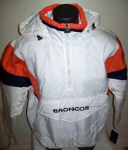 DENVER BRONCOS Starter Hooded Half Zip Pullover Jacket LG  WHITE