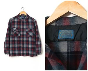 90s Vintage Mens PENDLETON Shirt Wool Long Sleeve Checked Red Blue Size L