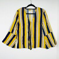 Incu Women's Stripe Top Bell Sleeves Size 12 Blouse Linen Blend