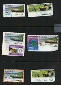 Costa Rica, group of six computer vended postage stamps, used, on piece.