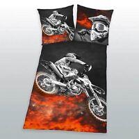 MOTORBIKE FLAMES SINGLE DUVET COVER AND PILLOWCASE SET - NEW BEDDING