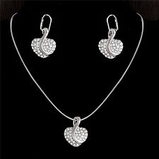 925 Sterling Silver Heart Crystal Jewellery Set. Necklace and Drop Earrings
