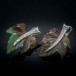 14K White Gold Natural Diamond Bicolor Carved Agate Leaf Earrings Estate Jewelry