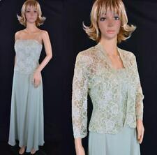 Davids Bridal Meadow Green Sequin Bead Chiffon Mother Bridesmaid Dress w/Jacket