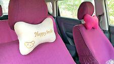 2pcs Lovely Bear Pattern Car Headrest Neck Pillow Soft Comfort Pillow Cushion
